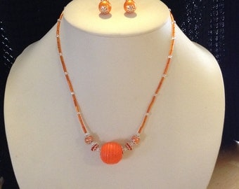 Handmade Necklace and Earring Set Color Orange