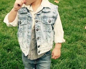 Kid's Distressed Denim Vest, Kid's Vintage Denim Vest, Girl's Denim Vest, Toddler Denim Vest, Boy's Denim Vest, Baby's Denim Vest, Toddler