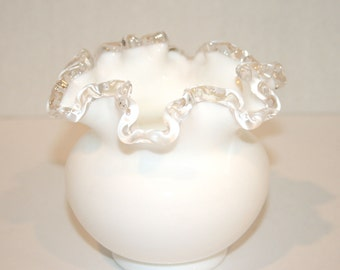 Fenton Silver Crest Milk Glass Rose Bowl//Fenton Art Glass//Vintage Fenton Art Glass