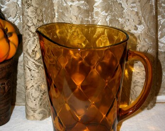 Amber Glass Pitcher with Diamond Design//Ice Tea or Lemonade Pitcher//Vintage Glass Pitcher