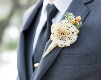 Music paper Boutonniere