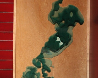 Ready to ship / Gull Lake Art with Epoxy resin and wood bathymetry topograhy / 50% off / Sale