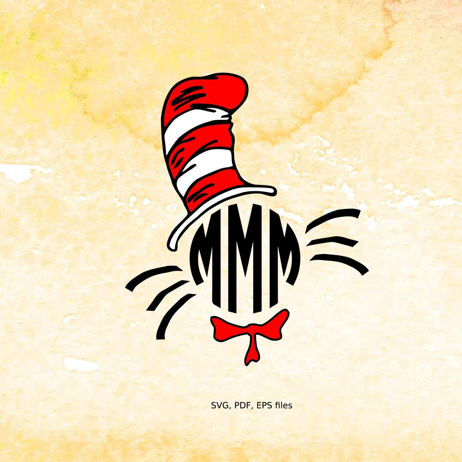 Cat in the hat ornaments - The Cat In The Hat Svg Monogram Frame Dr Seuss Svg Pdf