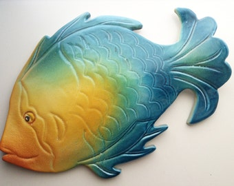 Ceramic grouper fish | ceramics Sardinia | wall hanging decoration