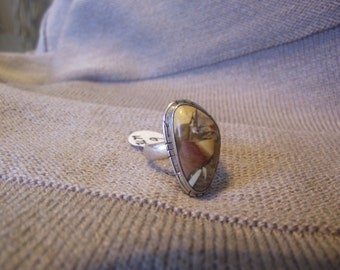 Pictured Jasper and Sterling Silver Ring Sz 6