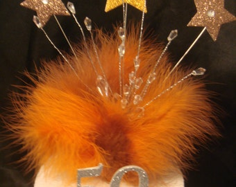 orange brown balloon feather any age birthday cake topper