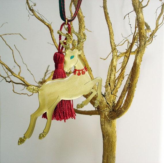 Reindeer christmas ornament metal