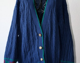 1980s Blue and Green Vintage Cardigan Sweater