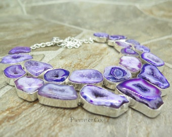 Purple Agate Druzy Sterling Silver Necklace
