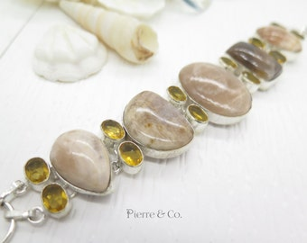Jasper and Citrine Sterling Silver Bracelet