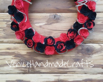 florealfelt wreath with black and red roses, gift for teachers, gift for schoolmates, gift idea for school mates, gift ideas for teachers