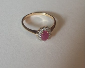 14K Yellow Gold Ring With Diamonds and Ruby