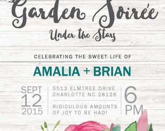 Garden Soiree Wedding Invitation and Reply Card