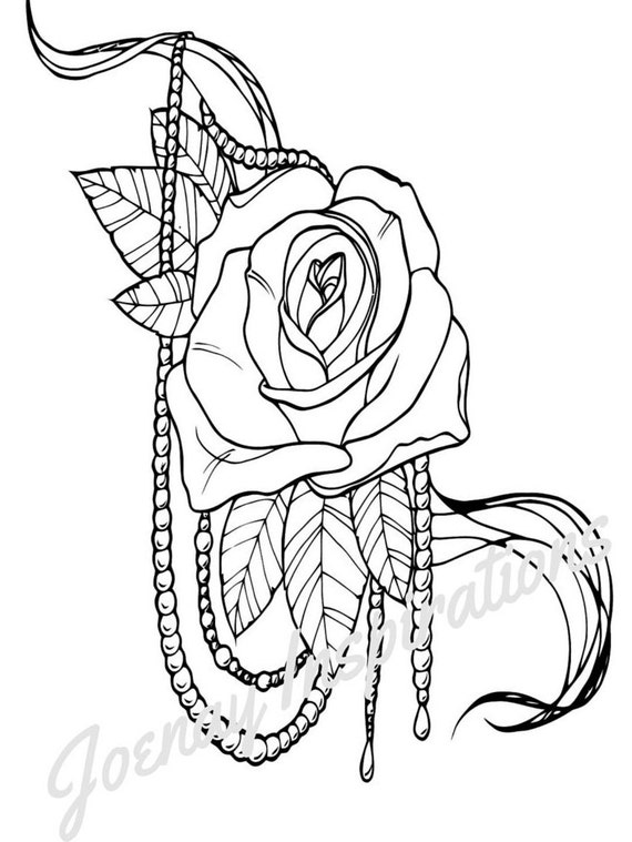 Adult Coloring Book, Printable Coloring Pages, Coloring Pages, Coloring Book for Adults, Instant Download, Fancy Flowers 3 page 1