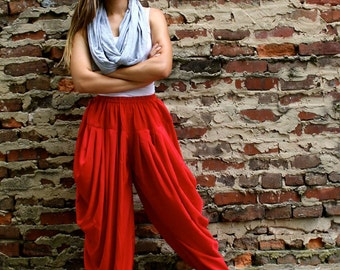 Pleated Red Pants