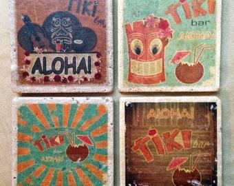 Retro Tiki Bar Design Natural Marble Tile Coasters - Set of 4