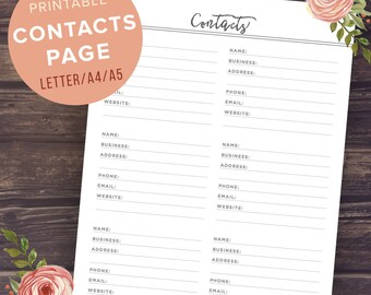 editable address book template