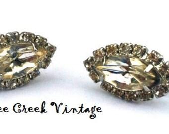 Vintage Earrings-Rhinestone earrings, marquise shape.Clip. 1980's.