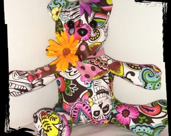 Sugar Skull Teddy Bear, Day of the Dead Bear,  #CatEncio, #SugarSkullFace