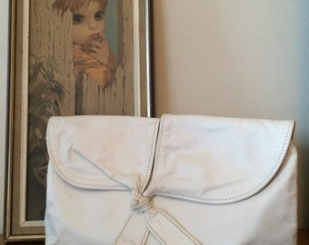 Sweet, Soft White Leather Clutch Purse 80's w/ Tie Front