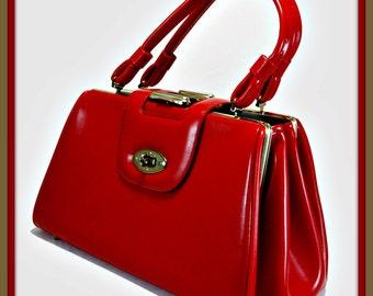 Vintage Vinyl Handbag,Vintage Vinyl Kelly Bag,Vintage Handbag,Vintage Kelly Bag,Vintage Vinyl Pocketbook,Vintage Pocketbook,Vintage Red Bag