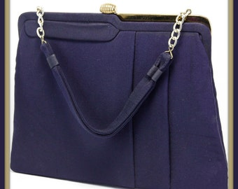 Vintage Garay Handbag, Vintage Handbag, Vintage Garay Purse, Vintage Purse, Vintage Garay Pocketbook, Vintage Pocketbook, Vintage Navy Purse