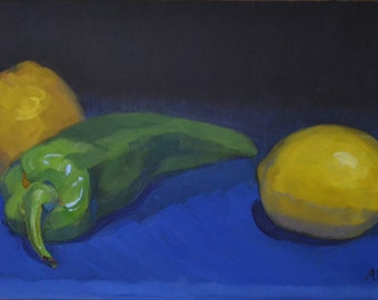 Food art, lemons and pepper, still life, oil painting, realism, small art painting, kitchen decor