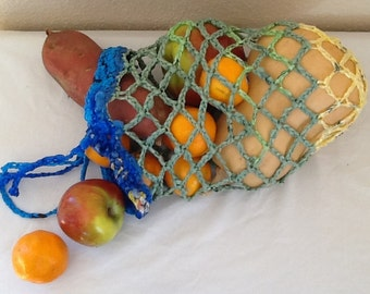 Colorful crochet plarn (recycled plastic bags) produce bag/tote