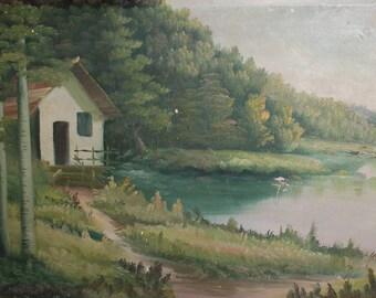 Antique large oil painting river landscape