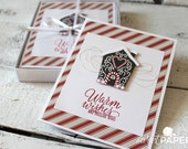 Set of 5 Christmas Cards, Candy Cane Lane Christmas Cards, Stampin' Up! Christmas Cards, Handmade Greeting Card