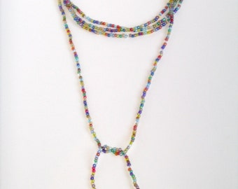 Exclusive GJ rainbow lariat, 60 inches, can be wrapped or tied