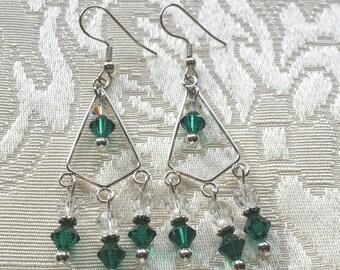 Emerald green Egyptian glass swarovski crystal chandelier earings, green, silver dangle earrings, handmade jewelry