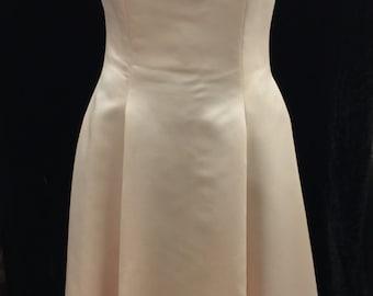 Flower Neckline Satin Princess Style Wedding Gown