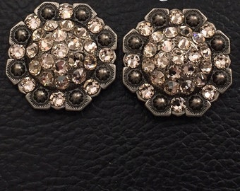 """Saddle or Tack Bling Conchos- 1"""" Nickel Colored Octagon Berry Concho"""