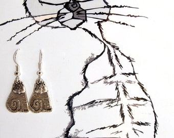 Cat earrings Kitty charms earrings Cute silver jewelry Cat lovers gift her Dangle animal earrings Everyday jewelry Summer style Cat owners