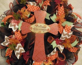 Autumn Wreath, Fall Wreath, Fall Wreaths, Harvest Wreath,Thanksgiving Wreath, Happy Thanksgiving Wreath, Cross Wreath