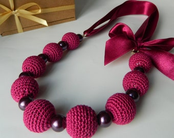 Purple crochet necklace Crochet jewelry Necklace with bow Bridesmaid jewelry Necklace on ribbon