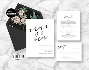 Wedding Invitation Printable , Wedding Stationery Suite , Modern Wedding Invitation , Wedding RSVP , Printable Wedding Suite