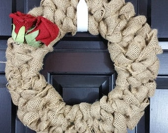 Burlap Wreath - Small Wreath - Burlap and Red - Front Door Wreath - House Warming Gift - Rustic Wreath