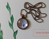 "Pendant ""Acorns and Leaves"" - jewelry, glass dome, necklace, ball chain, original art, leaf, oak, botanical, nature"