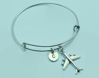 Plane charm bangle bracelet, aeroplane charm bracelet, personalised initial bangle, letter, personalised charm, charm bracelet, airline