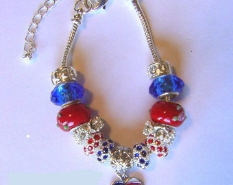 Red white & blue Patriotic bracelet with American Flag charm