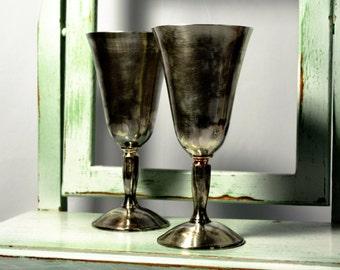 Large Silver Goblets, Plator, Mid Century, Gothic, Wedding Reception, Wedding Toast, Barware, Home Bar, Kiddish Goblets,Silver Stemware,