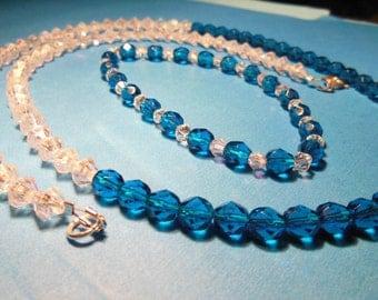 Blue Swarovski crystal necklace and bracelet.