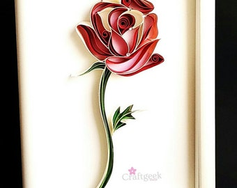 Rose, Paper Quilled Framed Single Red Rose, Quilled Paper Art.