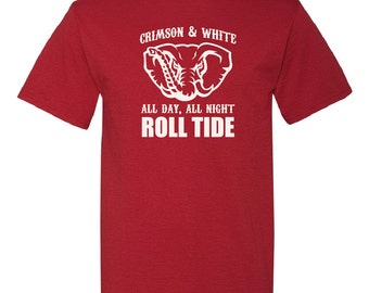 Alabama Crimson & White All Day All Night Roll Tide - FREE SHIPPING! - Alabama Crimson Tide