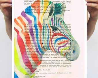 Zebra art print: rainbow zebra by Coco de Paris
