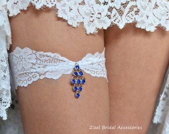 Blue Wedding Garter, Rhinestone Garter,  Lace Garte Set, Bridal Garter, Blue Bridal Garter, Royal Blue Garter, Somethig Blue,Wedding Garter