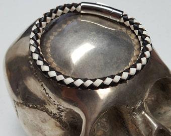 Stainless steel black and white leather bracelet for men