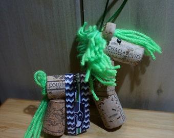 Seahawks wine cork horse ornament